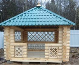Садовая деревянная беседка для дачи